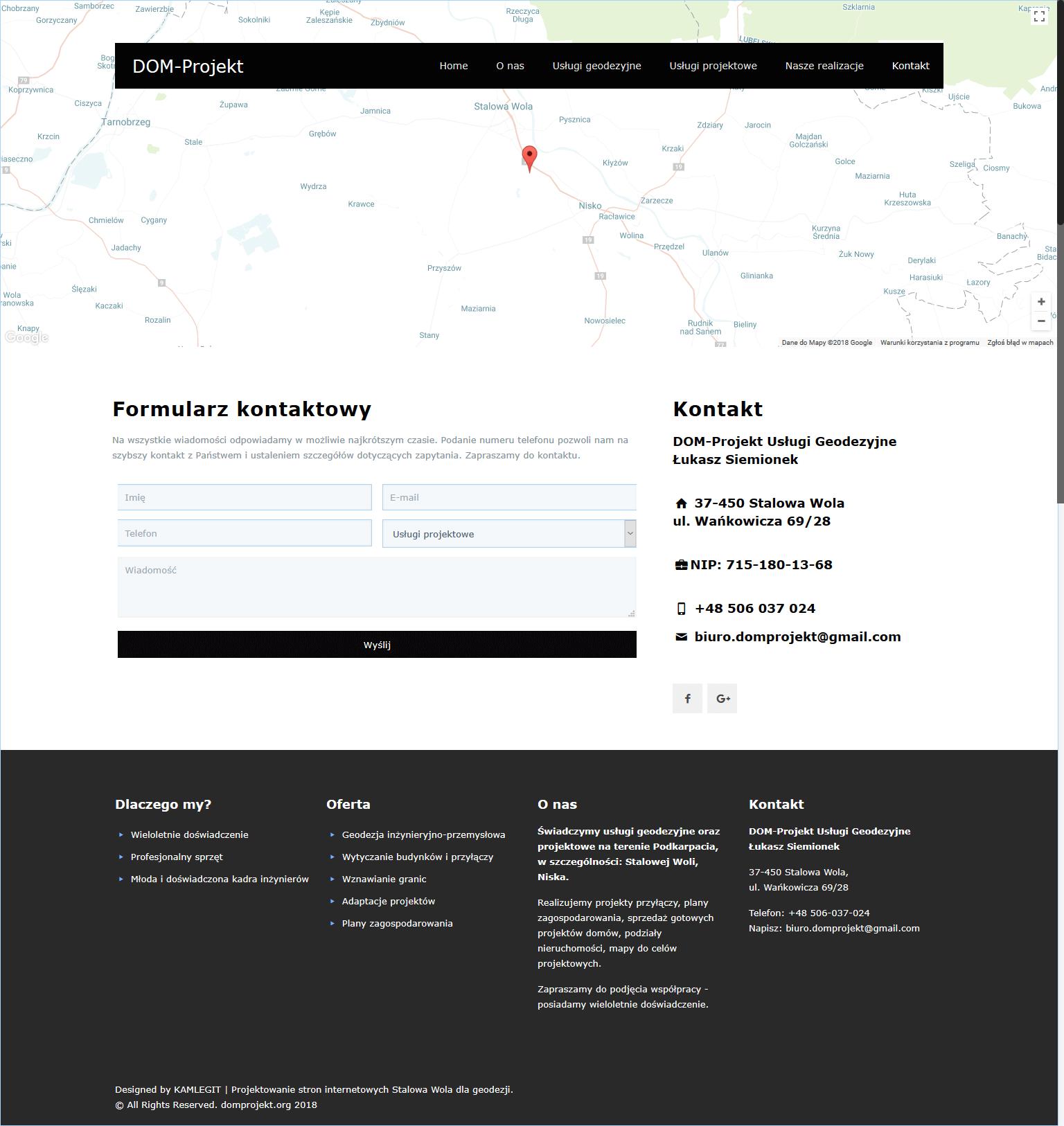 Screenshot-2018-2-5 Kontakt +48 506-037-024 DOM-Projekt usługi geodezyjne Stalowa Wola